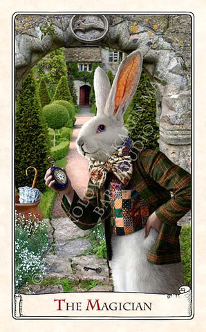 "The White Rabbit ""I'm late!"" art doll, with jacket made from antique silk Bohemian ribbon"