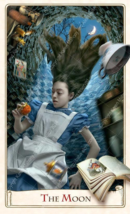 The Alice Tarot, Baba Studio, buy Alice in Wonderland tarot deck online, Alice tarot cards, down the rabbit hole, the moon tarot card