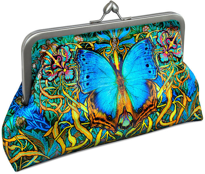 Butterfly and Beetle Belle, satin clutch purse with butterfly and scarab beetle print. Egypt, boho
