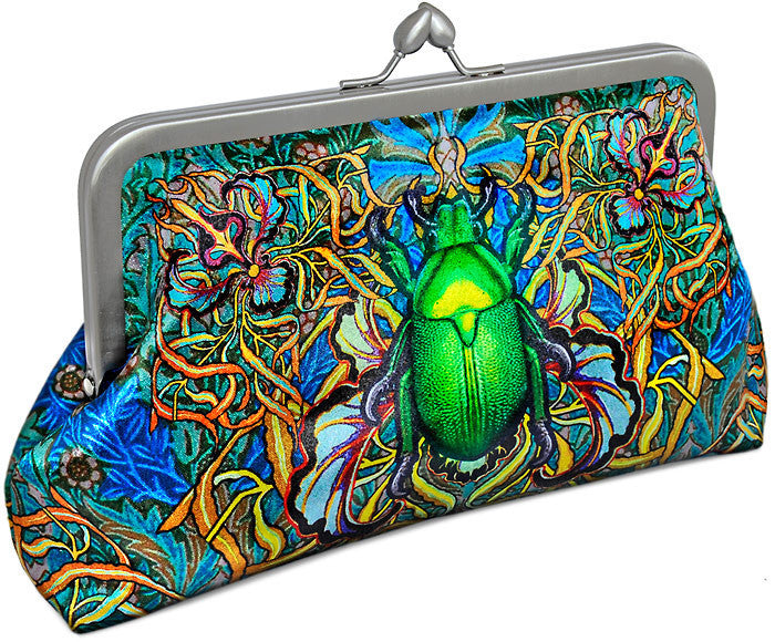 Beetle Belle, satin clutch with scarab and stag beetles print.