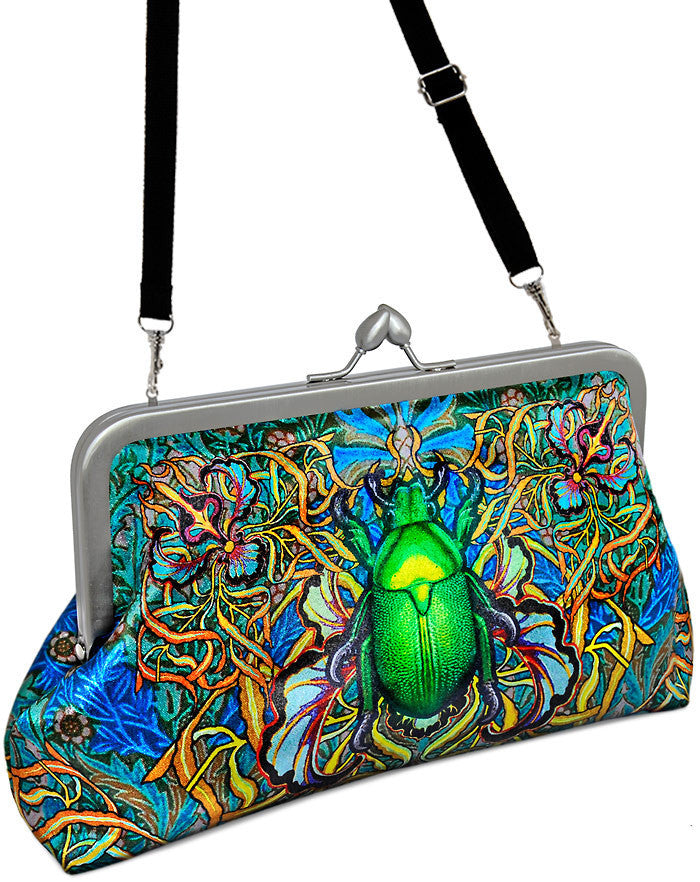 Beetle and Butterfly printed satin clutch purse by Baba Studio