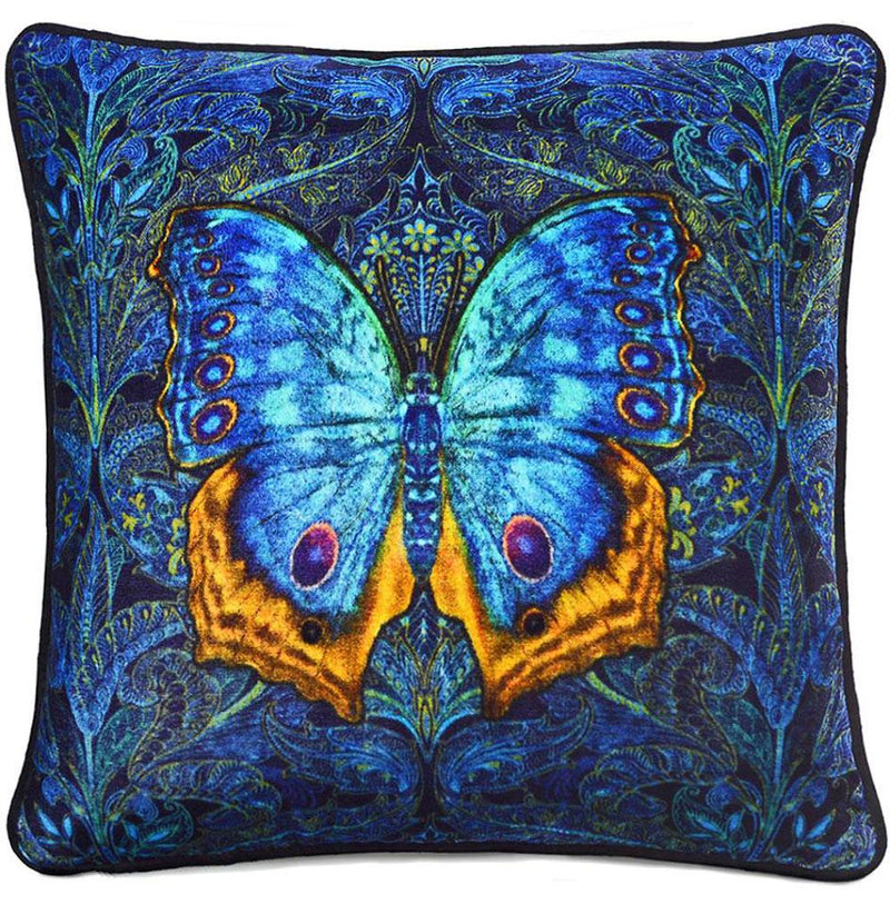 Blue Butterfly, unique Baba Studio print on silk velvet, Art Nouveau blue background