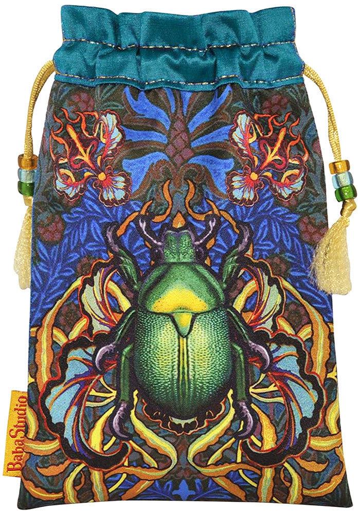 Beetle Belle — limited edition drawstring tarot bag pouch with scarab and stag beetles. Pure silk. By Baba Studio