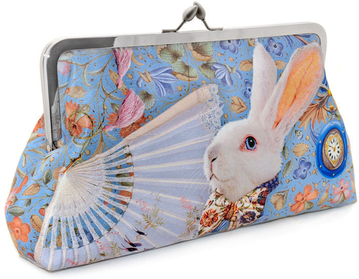 The White Rabbit, soft blue, 10 inch size in dupion - Baba Store EU - 1