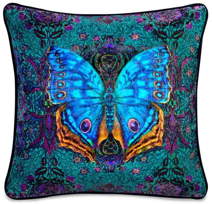 Blue Butterfly, silk velvet pillow, Printed cushion cover. Butterfly pillow, baba studio print, william morris, arts and crafts