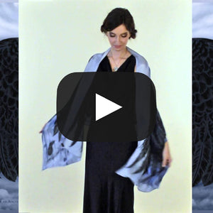 Wings of an Angel, black version, pure silk-satin scarf/wrap. - Baba Store EU - 2
