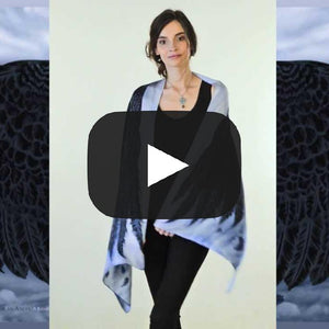Wings of an Angel, black version, soft viscose scarf/wrap. - Baba Store EU - 2
