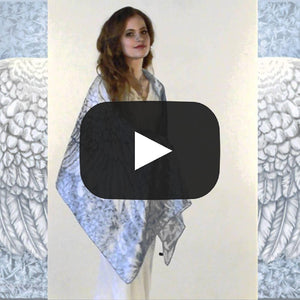 Wings of an Angel, pale version, pure silk-satin scarf/wrap. - Baba Store EU - 2