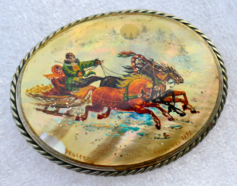 "Large hand-painted Russian ""troika"" scene brooch pin on mother of pearl. Signed and dated."