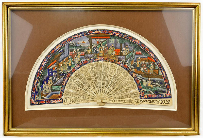 Rare and exquisite antique Chinese painted fan with carved ivory stick handle. - Baba Store - 4