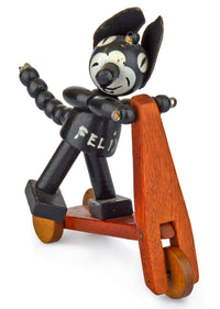 Original Felix the Cat on a scooter. Very rare vintage/antique collectible. Well-made wooden toy - Baba Store - 2