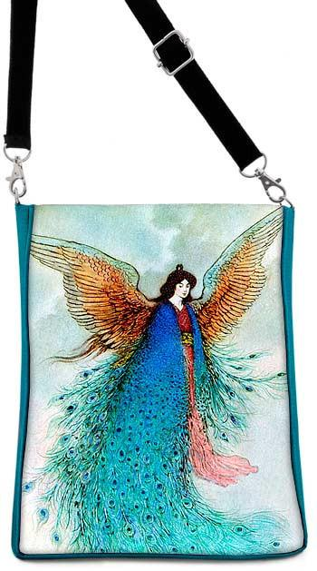 Japanese Fairy printed silk shoulder bag with Warwick Goble picture