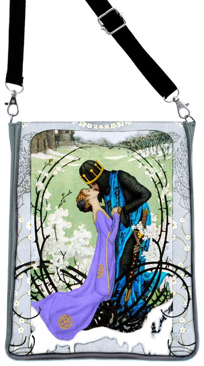Knight and Lady Art Nouveau print, silver version - Baba Store - 1