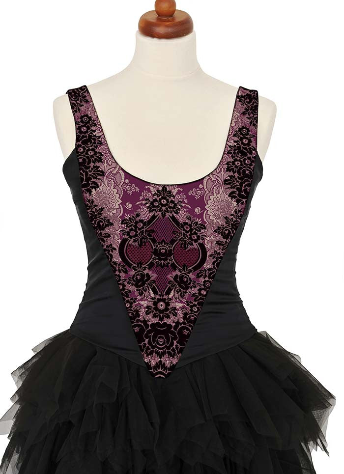 Lace Gothique, ruby red, with black stretch silk - Baba Store EU - 3
