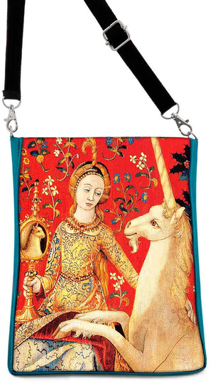 Lady and Unicorn, based on a medieval tapestry, teal version - Baba Store - 1