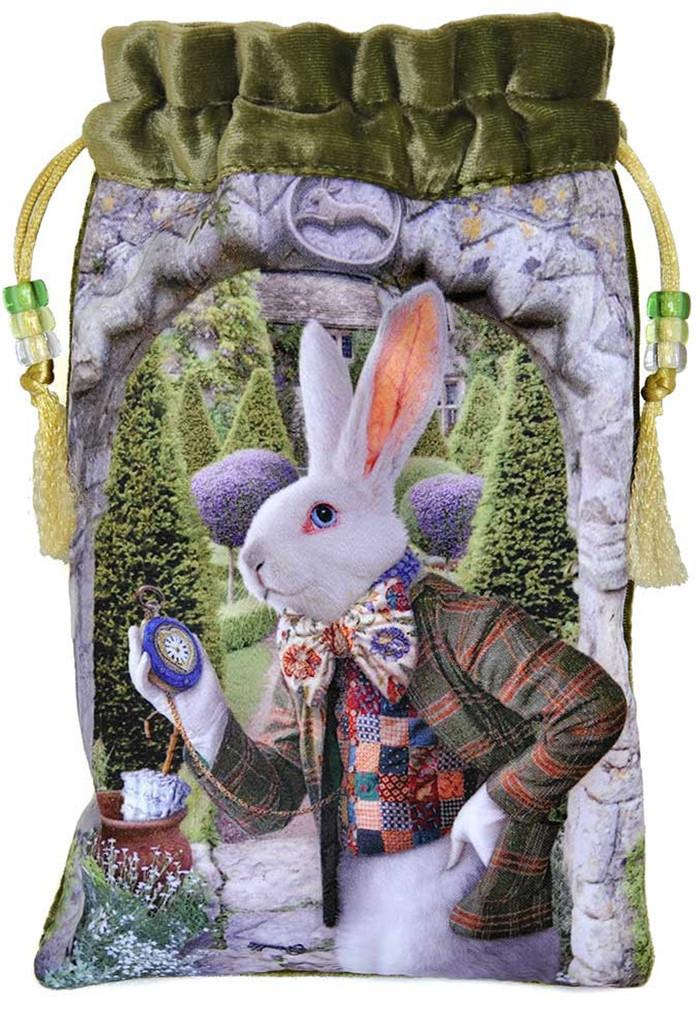 The White Rabbit bag, Alice Tarot drawstring pouch, silk velvet Alice in Wonderland bags.