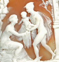 Hermes (Mercury) taking Bacchus to Ino. Victorian carved shell cameo. Museum quality.