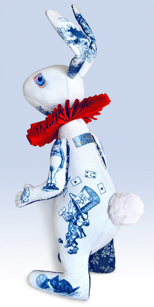 "The White Rabbit ""Indigo Alice"" art doll — One off with Alice Toile - Baba Store EU - 2"