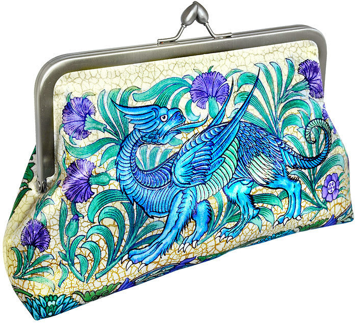 Dragon satin clutch purse based on William de Morgan tiles. By Baba Studio