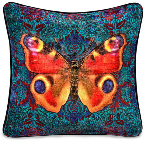 Peacock Butterfly, unique Baba Studio print on silk velvet, color version