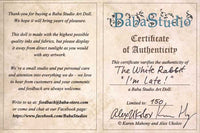 "The White Rabbit ""I'm late!"" art doll, with jacket made from antique silk Bohemian ribbon - Baba Store EU - 5"