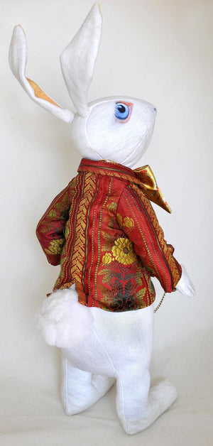 "The White Rabbit ""I'm late!"" art doll, with jacket made from antique silk Bohemian ribbon - Baba Store EU - 2"