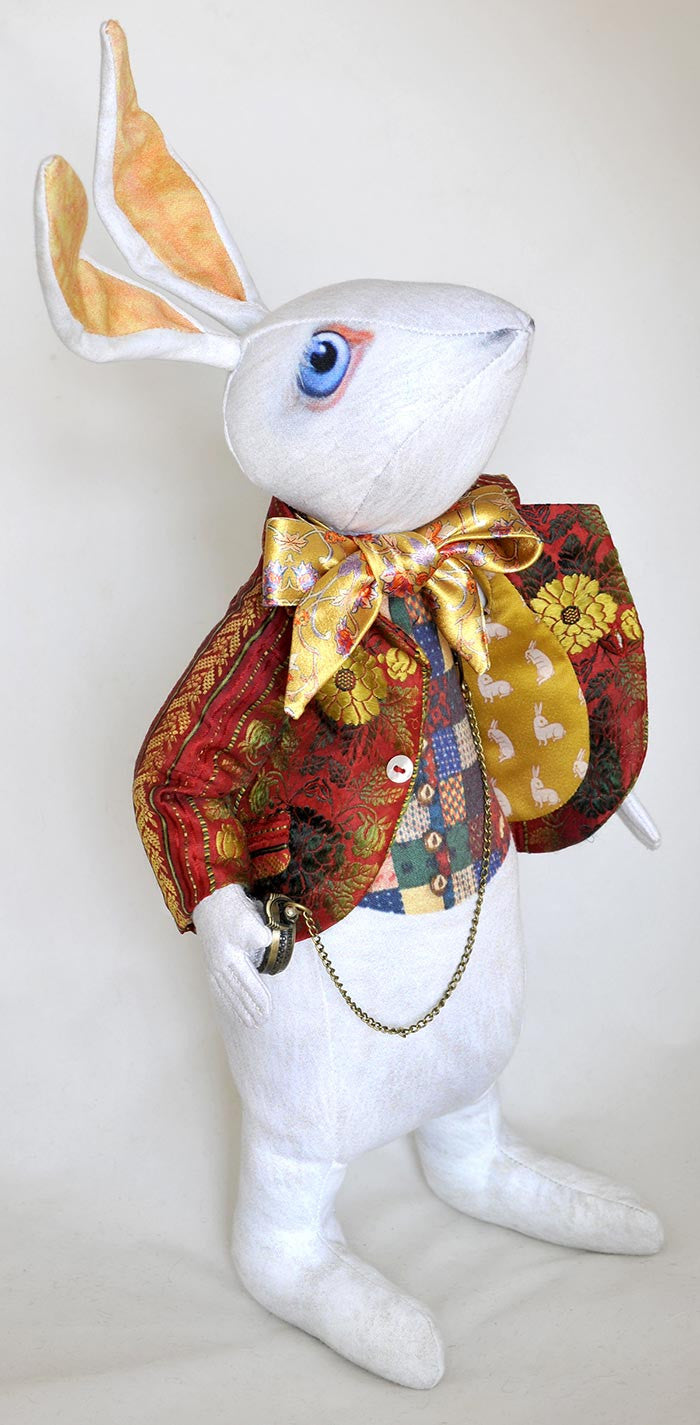 "The White Rabbit ""I'm late!"" art doll, with jacket made from antique silk Bohemian ribbon - Baba Store EU - 1"