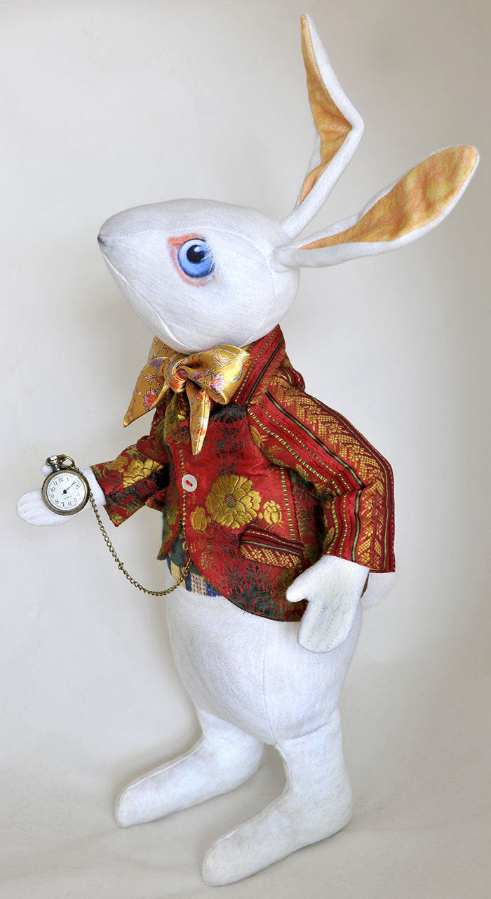 "The White Rabbit ""I'm late!"" art doll, with jacket made from antique silk Bohemian ribbon - Baba Store EU - 3"