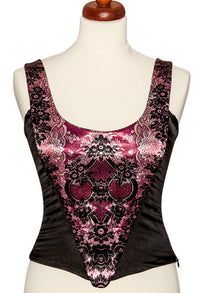 Lace Gothique, ruby red, with black stretch silk - Baba Store EU - 1