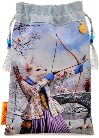 Sagittarius — limited edition with vintage silk kimono from the Zodiac Cats series