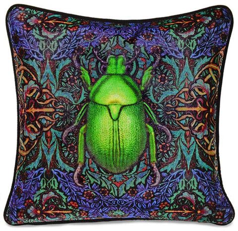 Scarab Beetle, unique Baba Studio print on silk velvet, color version