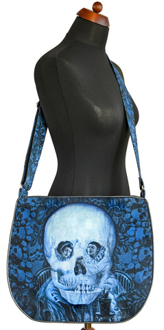 Memento Mori, Pierrot and skull, petrol-blue version — Big slouchy bag