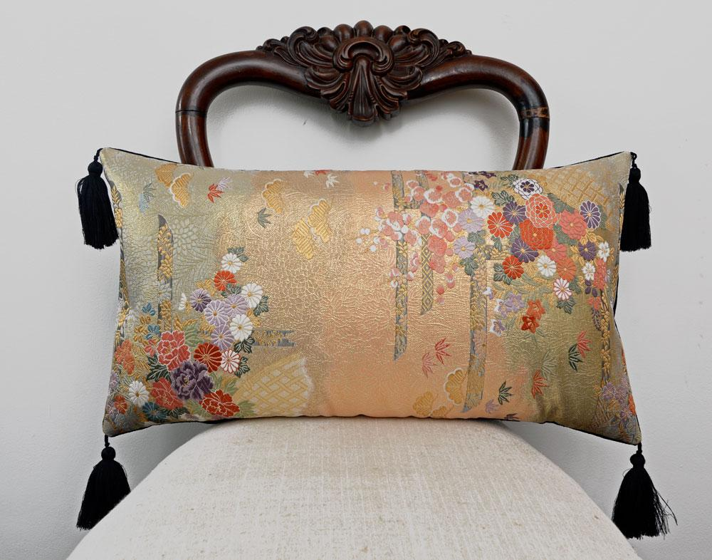 kimono cushion, japanese obi, vintage silk, vintage fabric, gold cushion, upcycled, handmade pillow, limited edition, metallics, decorative pillow, tassels