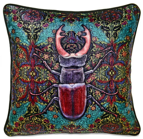 Stag Beetle, unique Baba Studio print on silk velvet