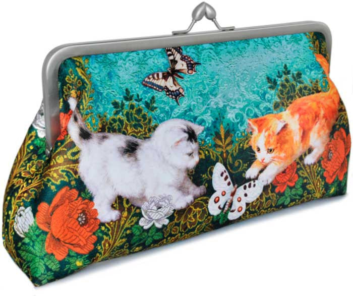 Victorian Kittens, 10 inch size clutch in dupion - Baba Store EU - 1
