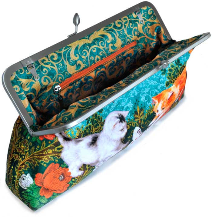 Victorian Kittens, 10 inch size clutch in dupion - Baba Store EU - 3