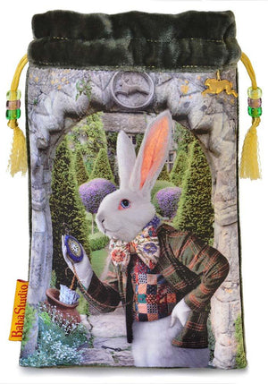 White Rabbit tarot bag, Alice Tarot printed bags, limited edition drawstring pouch in silk velvet