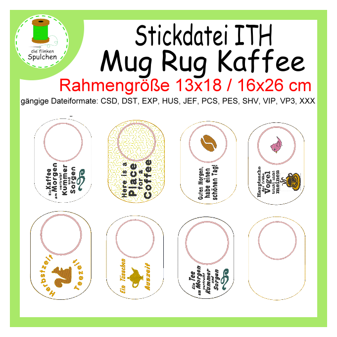 Stickdatei ITH MugRug Coffee