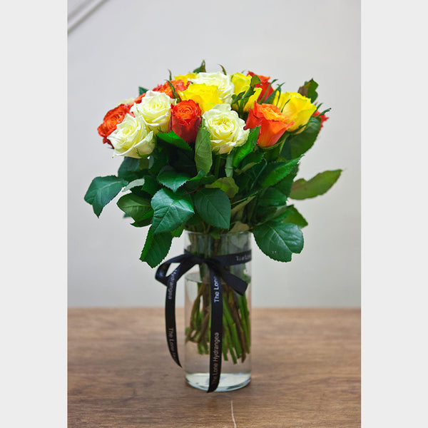 Mixed Rose Bouquet In A Vase