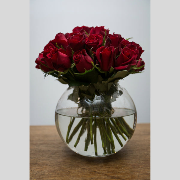 Red Rosy Posy In A Fishbowl
