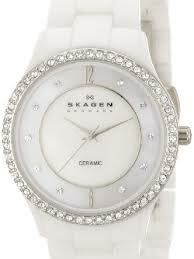 Skagen Ceramic White Mother-Of-Pearl Dial Sk347Ssxwc - Womens Watch