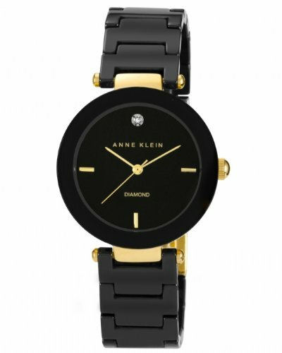 Anne Klein Black Ceramic Bracelet With Diamond Accent Womens Watch