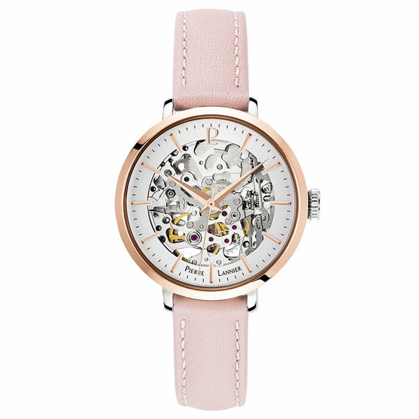 Pierre Lannier Automatic Skeleton Rose Gold Silver/Pink