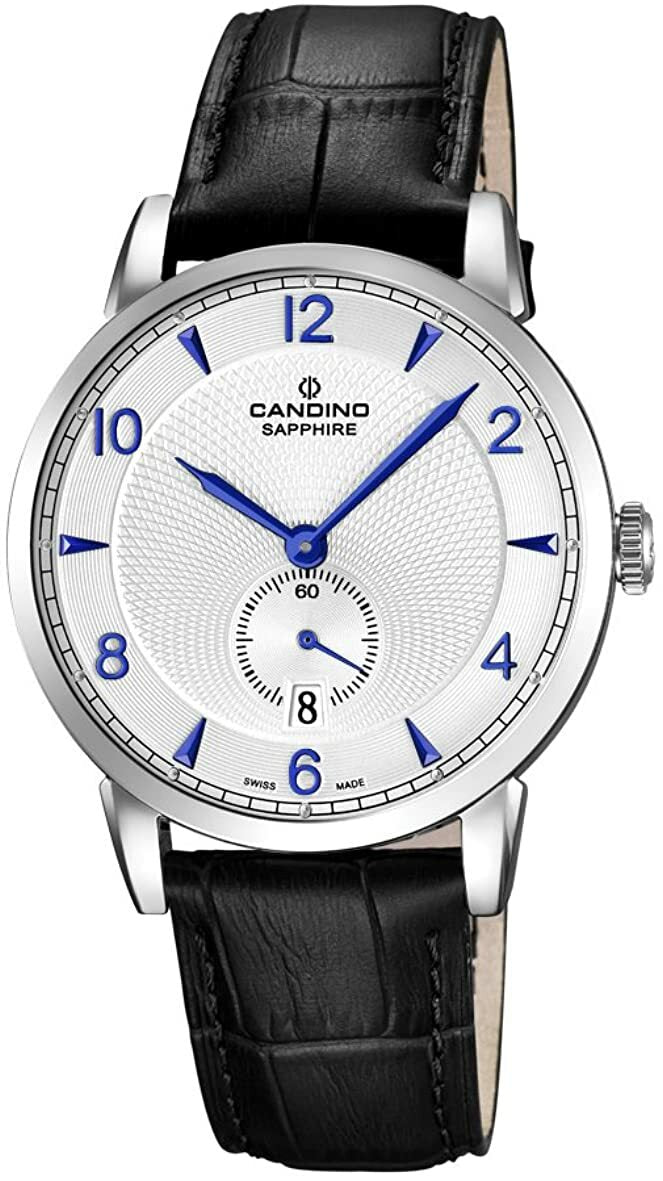 Candino Quartz with White Dial Analogue and Black Leather Strap Mens Watch