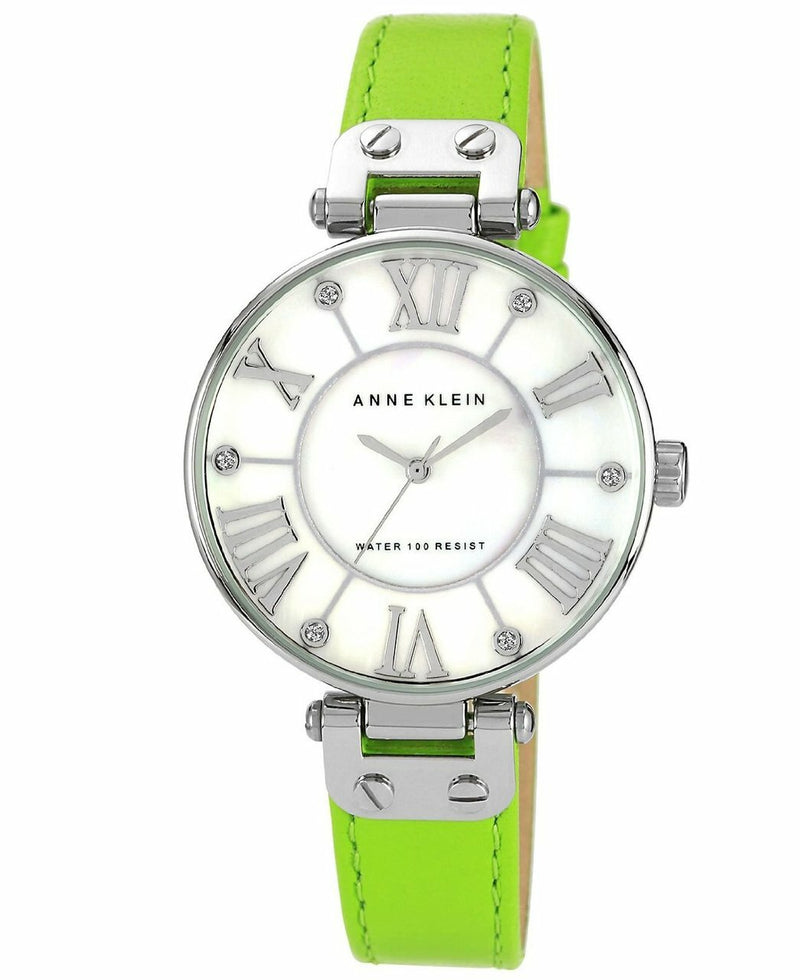 Anne Klein Watch, Womens Lime Green Leather Strap