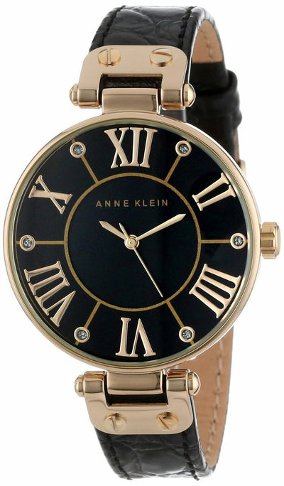 Anne Klein Gold-Tone Black Mother-Of-Pearl Dial Leather Dress Womens Watch