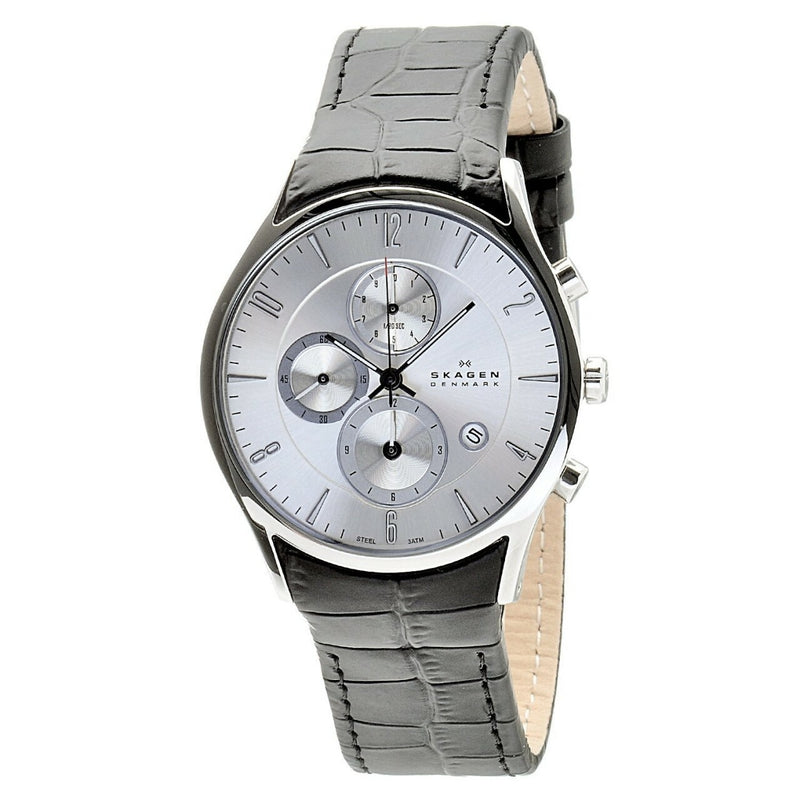 Skagen Silver Dial Chronograph With Black Leather Band 329Xlslc - Mens Watch