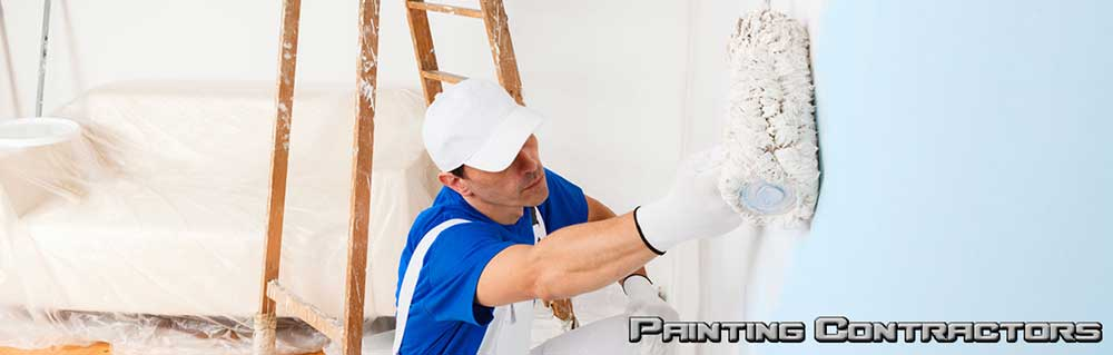 man in white and blue outfit painting wall
