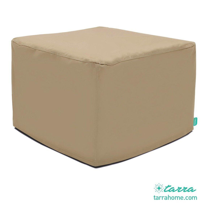 Universal Outdoor Patio Ottoman Cover in Presidium Tan (Square, Round, Rectangle) - Tarra Home