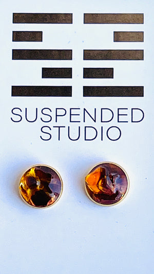 Amber and Gold Recycled Glass Earrings